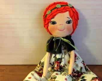 heirloom doll soft doll fabric doll textile doll cotton doll cloth doll stuff doll rag doll gift for girls art doll  cloth art doll for girl