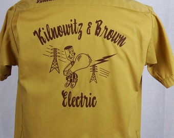 Vintage 1960s Nat Nast Creation Gold Mens Bowling Shirt - Great Graphics - Size L