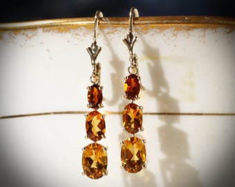 14K Yellow Gold 3-Stone Yellow & Madeira Citrine Graduated Three Stone Earrings