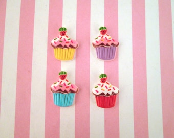 4 Assorted Cupcake Cabochons #025