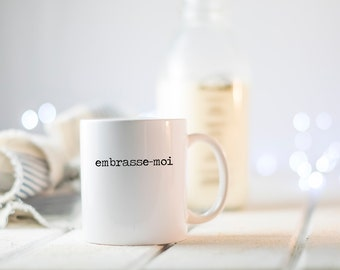 Valentine's Day Mug | Embrasse-moi | Kiss me | Valentines Day Gift for Her | Romantic Gift for Him | Paris decor | Farmhouse | minimalist