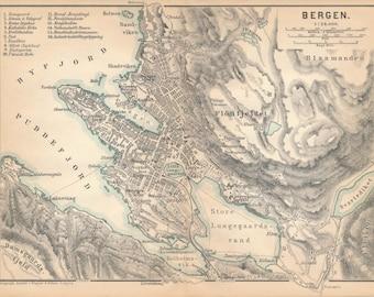1895 Bergen Norway Antique Map