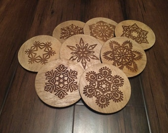 Snowflake Coasters Set of 6 // Christmas Present/ Laser Cut Wooden Coasters