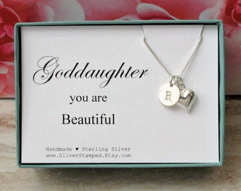 Goddaughter gifts etsy goddaughter gift for goddaughter necklace sterling silver initial you are beautiful goddaughters birthday negle Choice Image