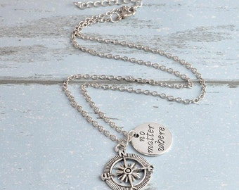 No matter where necklace, BFF necklace, compass necklace, best friend necklace, BFF charm, custom any charm, personalized necklace, initial