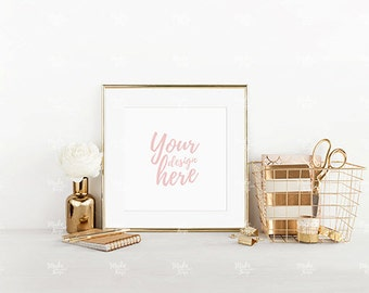 Square gold frame mockup / Styled stock photography / Instant download /  #3637