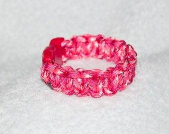 Pink Cobra Bracelet, Love Gifts, Paracord Bracelet, Wife Jewelry, Braided Bracelet, Anniversary Favor, Love Party Favor, Survival Gear, Cute