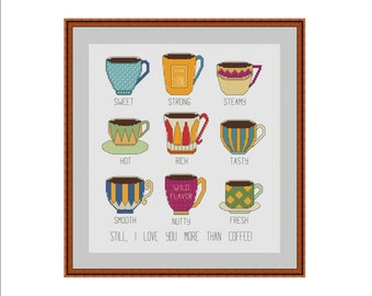 Coffee cross stitch pattern, Cup cross stitch, Coffee, Coffee lover, Love coffee, Coffee cups, Cross stitch pattern, Xstitch pattern, PDF