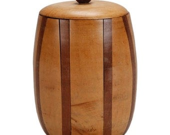 Mid-Century English Satinwood and Walnut Lidded Canister [244]