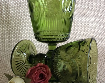 Vintage stemware Retro avocado green goblet and wine thumbprint circle pattern