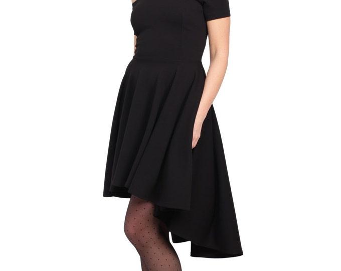 Black Open Shoulder Dress, Cocktail Dress, Skater Skirt Dress, Red Dress