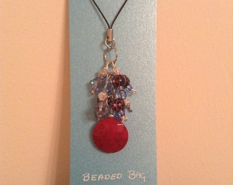 Beaded Bag Charm ~ Red, Blue & Purple