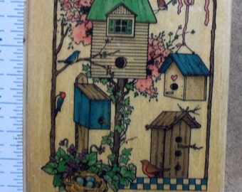 Rubber Stamp - Home Tweet Home - Birdhouses - Uptown Rubber Stamp - L25092
