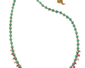 Jasmine - glass, coral and freshwater pearl embellished rosary style necklace