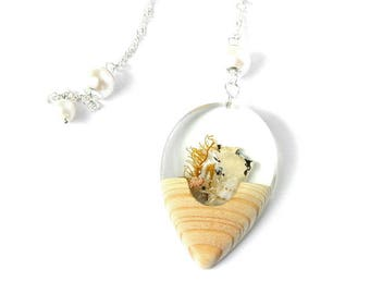 Beach wedding pendant, pearl necklace, wedding, bridal, combining native wood, shell and lichen, brides jewelry, unique jewelry