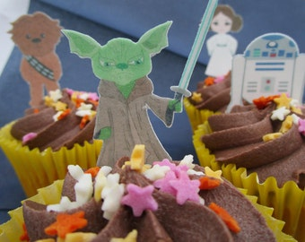 Cupcake 'May The Crumbs Be With You' Star Wars Style Edible Cake Decoration Set