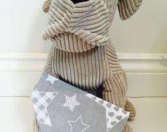 Dog Bandana, grey and white stars, bandana for dogs.