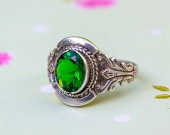 Green Zircon Ring, Silver Green ring, Silver CZ Ring, Green Cubic Zirconia, Green Ring, Silver Ring, Sterling Silver Ring, Nature Green Ring