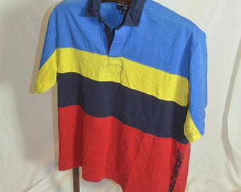 Vintage Ralph Lauren Spell Out Polo Sport Striped Color BLock Shirt - Size Large