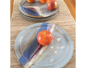 Four Large Ceramic Dinner Plates - Stoneware Pottery Plates in Blues with Red and White Stripes -Wheel Thrown Everyday Pottery