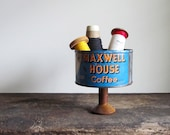 Repurposed Vintage Maxwell House Coffee Can and Textile Wood Spool Display Stand
