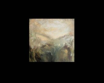 Fine art print, from oil painting, 'Hinterland', pale gold, green, blue, square A6 to A3 size