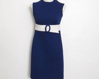 RESERVED LISTING for WNJAMBI Vintage 1960 - 70s Mod Shift Dress / Sleeveless Navy Blue & White Mini Dress / 60s - 70s Pacemaker Juniors