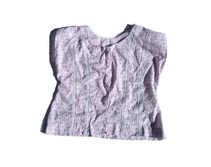 S pastel pink and purple dolman cap sleeve 80s vintage floral print lace prairie style shirt top blouse COTTON small medium M kawaii retro