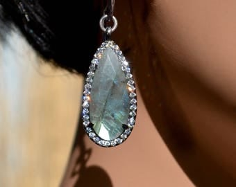 LP 1399 Pear Shaped, Faceted Labradorite Gemstone In A Black Gold Bezel With White CZ Earrings