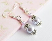 Purple Bridesmaid Earrings, Light Purple Pearl Earrings, Bridesmaid Gift, Bridal Party Gift, Wedding Jewelry, Dangle