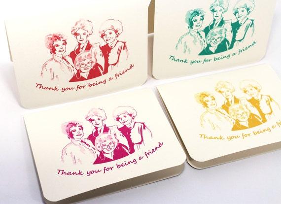 Golden Girls Cards - Thank You for Being a Friend - Set of 4 Thank You notes with envelopes, thanks, retro stationery, bridesmaids