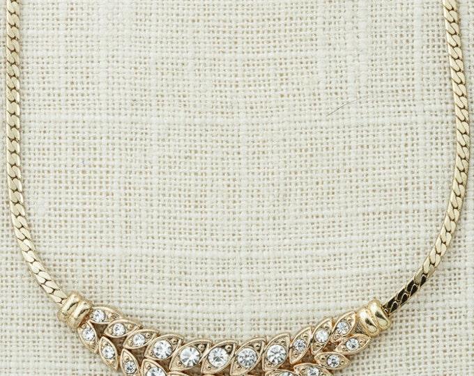 "16"" Gold Laurel Leaf Necklace Vintage Chain Rhinestone Costume Jewelry 16D"