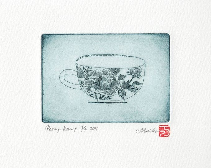 peony teacup etching print