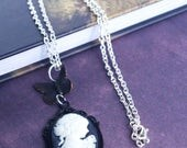 black cameo necklace silhouette victorian portrait jewelry romantic gifts