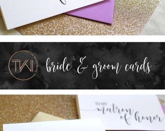 Maid of Honor Thank You Cards - Wedding Thank You Cards - Matron of Honor - Bridesmaid - Flower Girl BC217