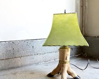 Wicked Vintage Deer Leg Lamp - Deer Hoof Table Lamp - Taxidermy Deer Lamp - Vintage Leather Lamp Shade - Rustic Cabin - Taxidermy Deer Legs