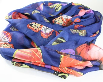 Blue scarves - Women's scarves - Summer scarves - Luxury scarves - Animal accessories - Butterflies -  Natural silk scarf