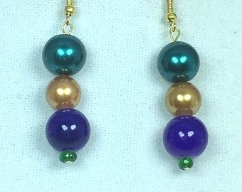 Purple Green Gold Mardi Gras Earrings