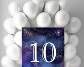 Printable Ten Birthday Decor, 10 year old party prop, Digital 10th birthday, Starry night sky wall art 8x10 14x18 jpg pdf