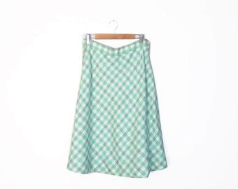 Vintage 70s Mint Green Full Wool Blend Plaid Skirt, Size L
