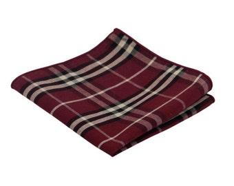 Burgundy Plaid Pocket Square.Burgundy Madras Handkerchief.100% Cotton.Wedding.Gifts.