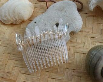 Mermaid Hair Accessory / Crystal Point Hair Comb / Boho Gypsy Wedding Hair Comb / Fairy Goddess Hair Comb / Gemstone Hair Accessory