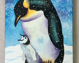Emperor Penguin and Chick  8x10 Original Watercolor Painting