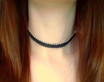Black Choker - Seed Bead Necklace - Boho Choker - Bohemian Jewelry - Choker Necklace - Boho Necklace - Hand Beaded - MADE TO ORDER