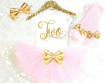 Toddler 2nd Birthday Outfit Girl 2nd Birthday Shirt Two Birthday Shirt 2 Birthday Outfit Pink and Gold Birthday Outfit Two Shirt ANY AGE BB2