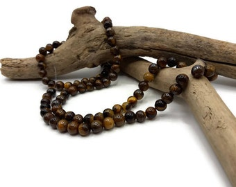 Natural Tiger eye beads 40 - Pearl 6 mm - Pierre of gemstones - A167