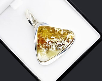 Natural Amber Stone Pendant, Baltic Amber Pendant Necklace, Natural Pendant For Women, Honey Amber Pendant, Healing Amber Pendant, Pendant
