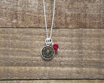 Pirates of the Caribbean Necklace - Aztec Skull Coin - Sterling Silver Pirate Necklace - Handmade Polymer Clay Necklace by LittleMillieShop