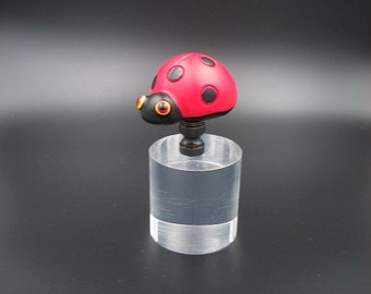 Custom Lamp Finial with a  a Red Polka Dotted Ladybug