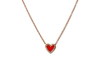14k Diamond Red Enameled Heart Pendant/Necklace *Made To Order*